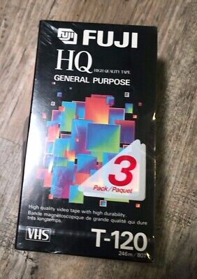 3 pack New Sealed FujiFilm HQ 120 VHS Tapes