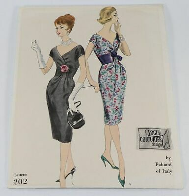1960's VTG VOGUE COUTURIER DESIGN Misses' Dress by Fabiani Pattern 202 14 UNCUT