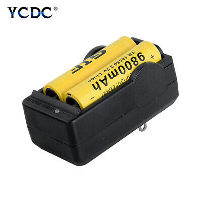2X Rechargeable 3.7V 9800mAh 18650 Batterires+Charger For Flashlight US Plug B4