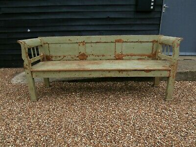 OUTSTANDING GENUINE 19th CENTURY FRENCH LARGE PINE BENCH PEW ANTIQUE  WE DELIVER