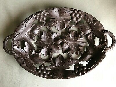 Vintage Black Forest Reticulated Carved Wooden Tray Dish Grape vines