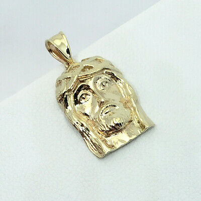 """Solid 10K Yellow Gold Small Jesus Piece Face Pendant, 3.0 grams, 1"""" long"""