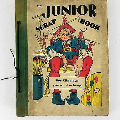 Vintage Antique CHILDRENS SCRAPBOOK 1930s 40 Colorful Images Time capsule