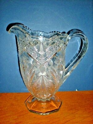 Victorian EAPG Pitcher Glass Water Milk Juice Footed Flower Star Pattern Antique