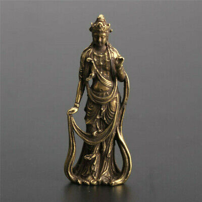 1x Chinese Old Handwork Brass Collection Guanyin Bodhisattva Pocket Statue New