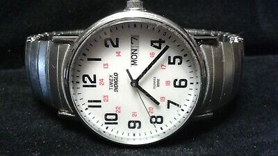 Vintage Timex Mens Watch INDIGLO Quartz Water Resistant time day date no battery