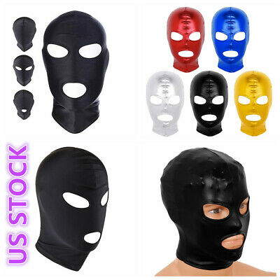 Latex Hood Full Mask Unisex Party Mask Roleplay Costume Open Eyes Mouth Headgear