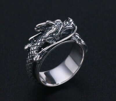 925 Sterling solid Silver Mens Biker Thai Dragon Punk Ring Rings Jewelry S3937