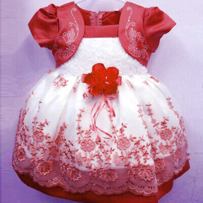 Toddler Kids Girl  Baby Flower Princess Party Pageant Wedding Dresses Rose AU