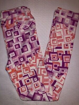 LuLaRoe Kids Leggings L/XL New White Pinks Purples 3D Squares Fits 8-12