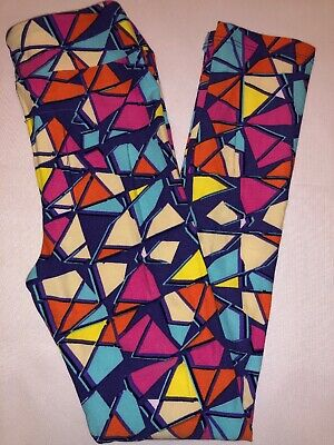LuLaRoe Kids Leggings L/XL New Purple W/ Multicolor Shapes Fits 8-12