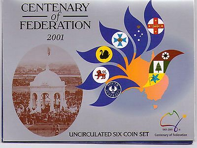 2001 RAM Uncirculated (UNC) 6 Coin Mint Set - Centenary of Federation