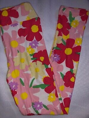 LuLaRoe Kids Leggings L/XL New White W/ Red Beige Pink Flowers Fits 8-12
