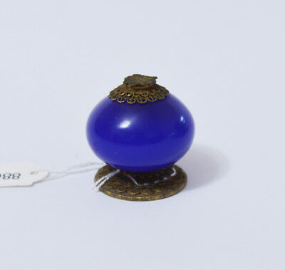 Large Antique Chinese Peking Glass Blue Hat Finial Button Qing Dynasty