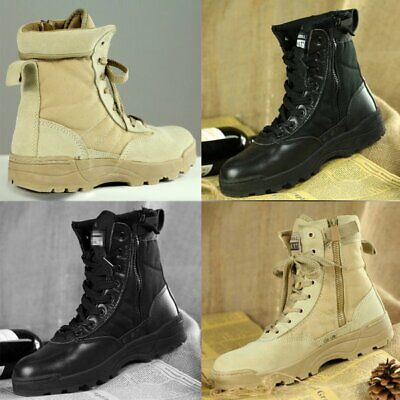 AU Men's Tactical Military Work Boots Army Side Zip Plain Toe Swat Boots HOT
