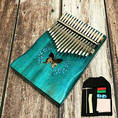 17Keys Butterfly Acoustic Kalimba Thumb Piano Mbira Solid Wood Blue Gift Toy Set