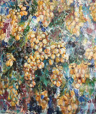 1986 Impressionist Floral Oil Painting Grapes Signed