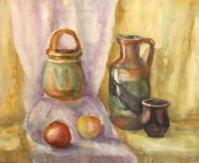 Antique Watercolor Painting Still Life With Pot, Jug, Mug And Apples