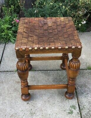 Antique Carved Wooden Leather Topped Stool