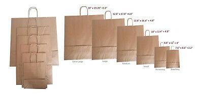 Brown Twist Handle Paper Party and Gift Carrier Bag / Bags Twisted Handles ROPE