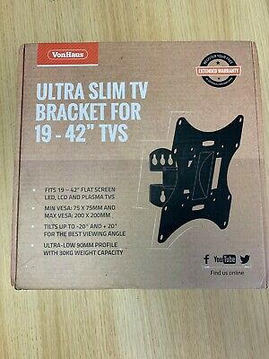 "VonHaus Ultra Slim TV Bracket for 19 - 42"" TVs with Tilt and Swivel"