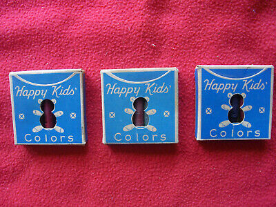 Vintage HAPPY KIDS COLORS Crayons 1920s Antique 3 Full Unused Boxes RARE CRAYONS