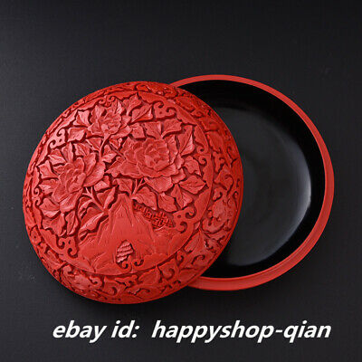 "6.9"" Chinese Classical Red Lacquerware Carving Flower Pretty Jewelry Storage Box"