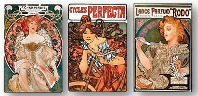 Mucha Vintage French Advertising Posters 8X10 Prints SET OF 3