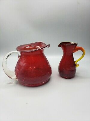 Blenko Blown Crackle Glass Pitcher Set Applied Handles - Ruby Red & Amberina
