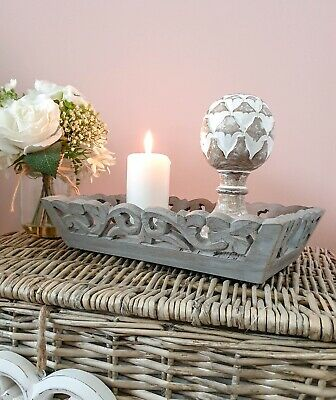 Shabby Chic Grey Hand Carved Ornate Wooden Tray Medium Only