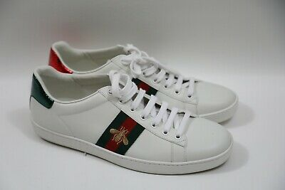 """#295 GUCCI """"New Ace"""" Golden Bee Web Stripe Sneakers Size 41  RETAIL $620"""