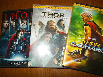 Lotto 3 Dvd Marvel Thor 1 2 3 The Dark World Ragnarok
