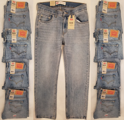 New Levi's 505 Regular Fit Boys Jeans Sizes 8,10,12,14,16,18 Light Blue Wash