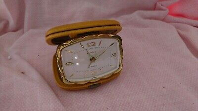 Vintage Retro Europa Travel Alarm Clock Fully Working In Leather Case 4 Jewels