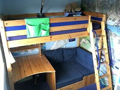 Thuka High Sleeper Bed With Futon And Desk Blue Wood Mattress