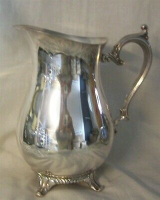 "SILVER PLATE Footed Pitcher with Ice Lip 9"" tall"