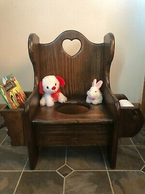 VTG Wooden Heart Cut Out Potty Chair Toilet Paper & Book Holder 2 Books 2 Toys