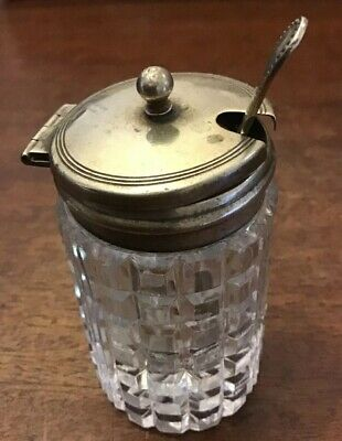 Glass Antique Mustard Jar Spoon Silver Plated Lid