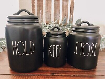 "NEW Rae Dunn Black ""KEEP"", ""HOLD"" & ""STORE"" Canister Set Of 3 LL VHTF Rare"