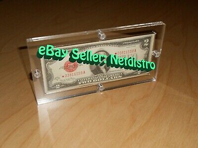 Single Acrylic Bank Note Frame Plastic Money Holder Currency Display Dollar Case