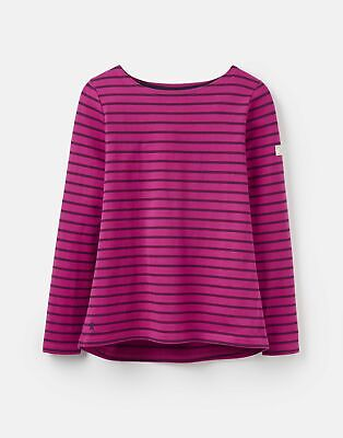 Joules 207522 Long Sleeve Jersey Top Shirt in FUCHSIA STRIPE