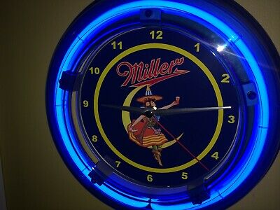 Miller High Life Girl on Moon Beer Bar Advertising Blue Neon Wall Clock Sign