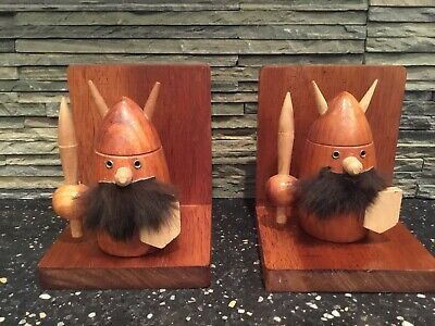 Vintage Mid Century Modern Danish Gonk Style Teak Wood Fur Viking Bookends