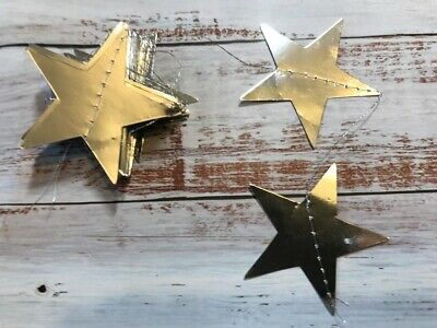 Silver Star Bunting Garland Mirror Foil Shiny Wedding Celebration Decor Prop 4m