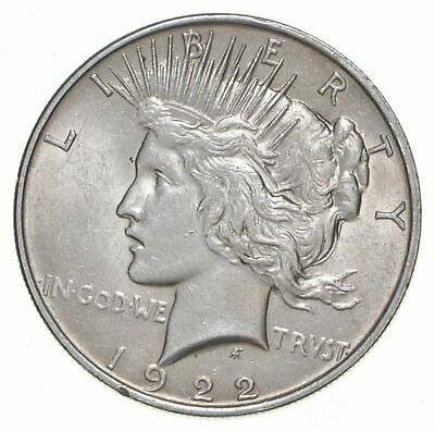 (1) AU $1 1922 Peace Silver Dollars Dripping w luster Almost Unc 90% Bulk & Save