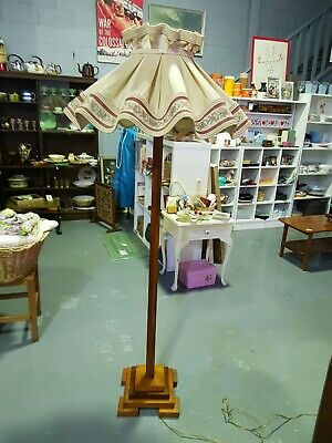 Vintage Art Deco Retro Carved Wood Standard Floor Lamp with Ballerina Shade