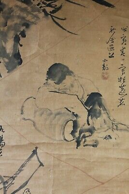 Old Japanese hanging scroll painted on paper  Edo period G05