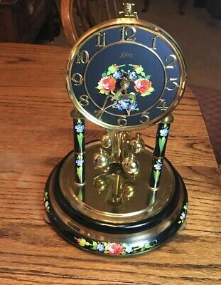 Koma Anniversary Clock 1960's Made In Germany Hand painted Floral Brass W/dome
