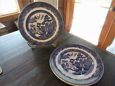 """3 Johnson Brothers Old Willow 10 1/4"""" Dinner Plates* Staffordshire England * GUC"""