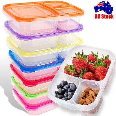 Meal Prep Containers 3 Compartment Lunch Boxes Food Storage with Lids Set of 1-5